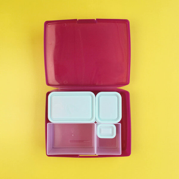 Bentology Bento Box Set - Classic 6 piece bento lunch box - Raspberry/Blue