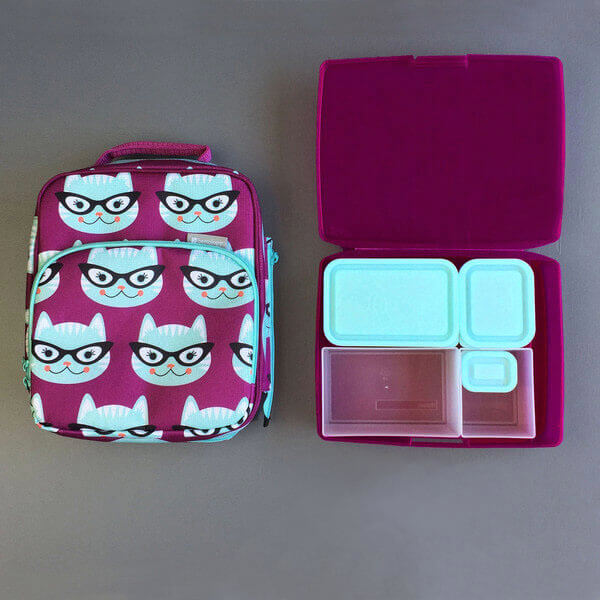 Bentology Bento Lunch Box Kit - Bento Box Set with Kitty Insulated Lunch Bag