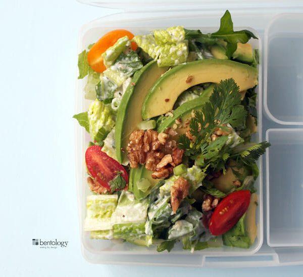 Salad with Avocado, Arugula, Tomatoes, Cilantro, Walnuts, Yogurt, and Hemp Seeds from Team Bentology