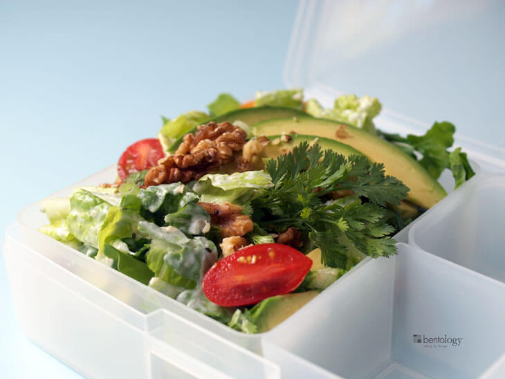 Salad with Avocado, Arugula, Tomatoes, Cilantro, Walnuts, Yogurt, and ...
