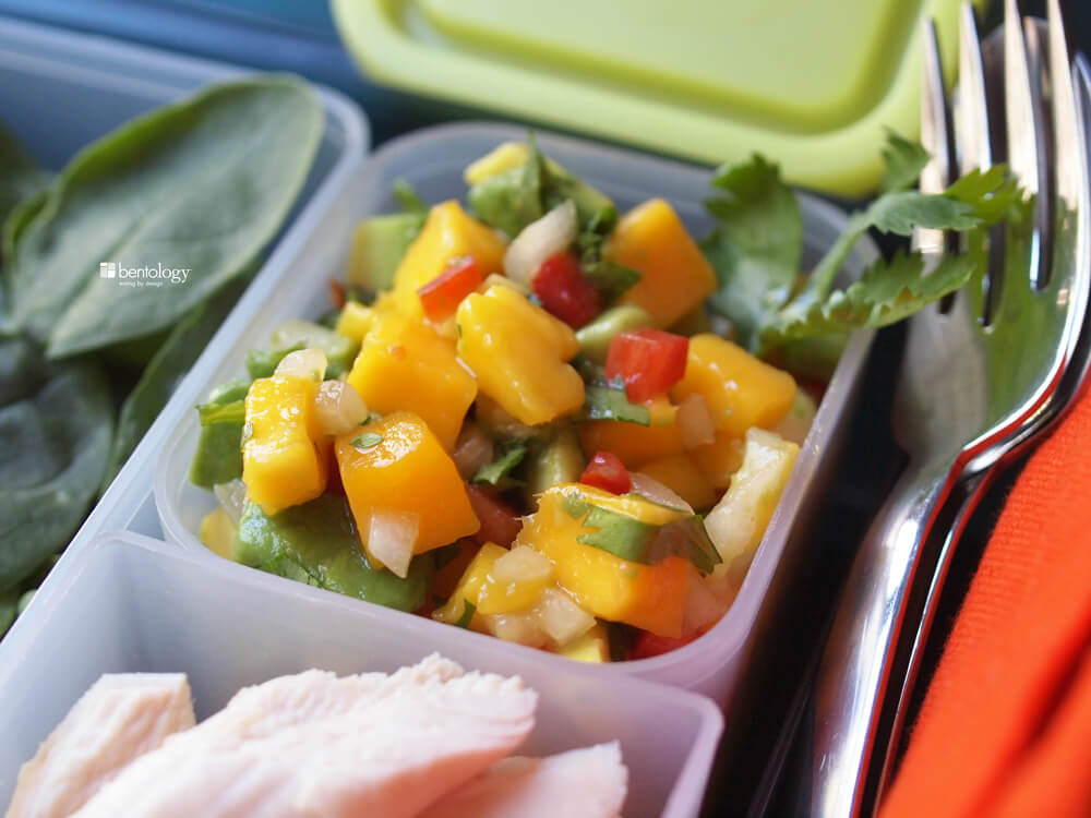 ... salad with mango salsa made with avocado, red pepper, lime, cilantro