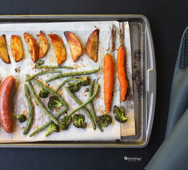 Single pan roast dinner is great the next day for lunch, with sausage, broccoli, beans, carrots and potatoes