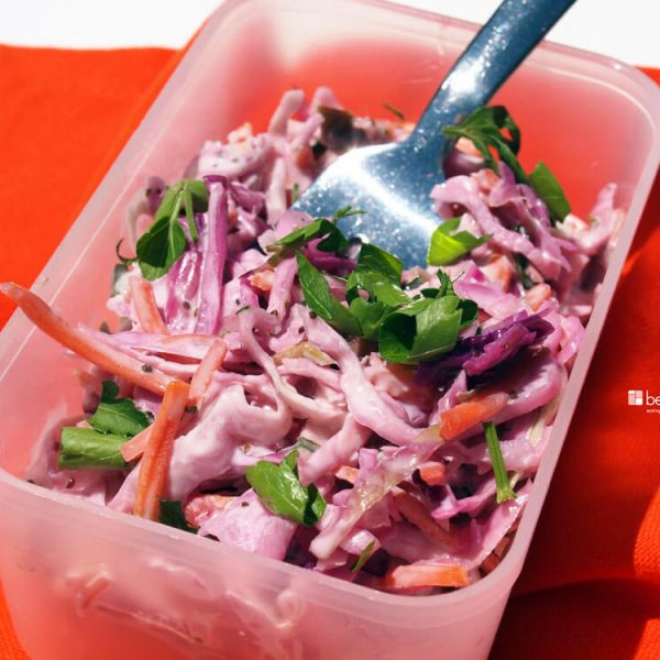 Classic Cole Slaw Salad with Purple Cabbage, Apple Cider Vinegar and Celery Seed
