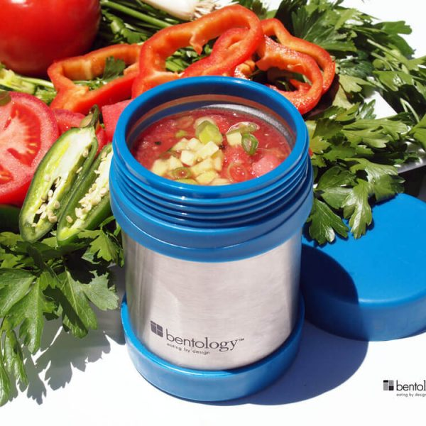 For cold soup on hot days you can't beat gazpacho by bentology, take it to go in your Bento Jar for lunch