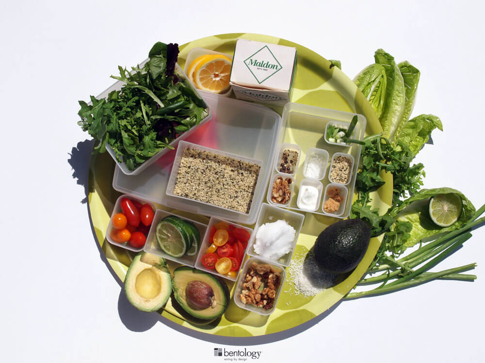 Perfect Salad dressing fixings with yogurt based dressing features coconut oil, hemp, salt and pepper,