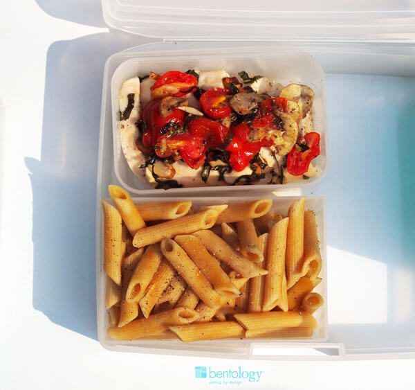 Portion Perfect by Bentology Chicken Bruschetta Dinner with Tomatoes, Mushrooms, Basil and Garlic, atop Whole Wheat Penne Rigate pasta