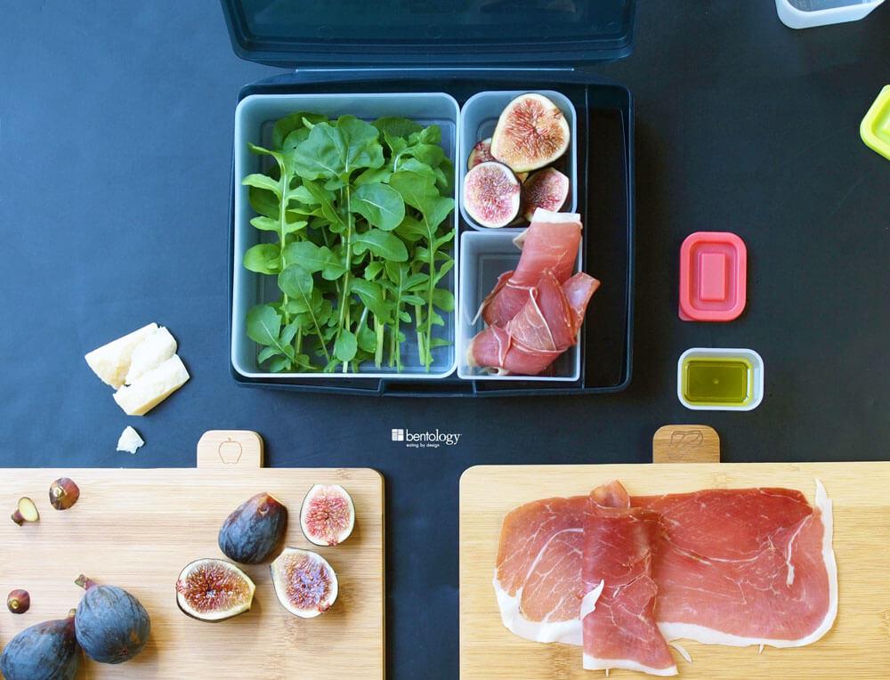 Bamboo Vágódeszkák a Bentology Bento Box Saláta füge, prosciutto, Rukkolák és parmezán kész ebéd egy bento box set