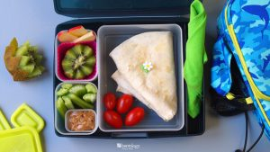 Cheese Tortilla Quesadilla Lunch Box Bento For Kids School with Kiwi, Almond Butter and Apples