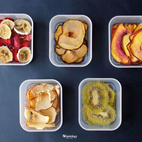 Quick-Dry Dehydrator with fruit_banana, strawberry, peach, plum, apple, kiwi
