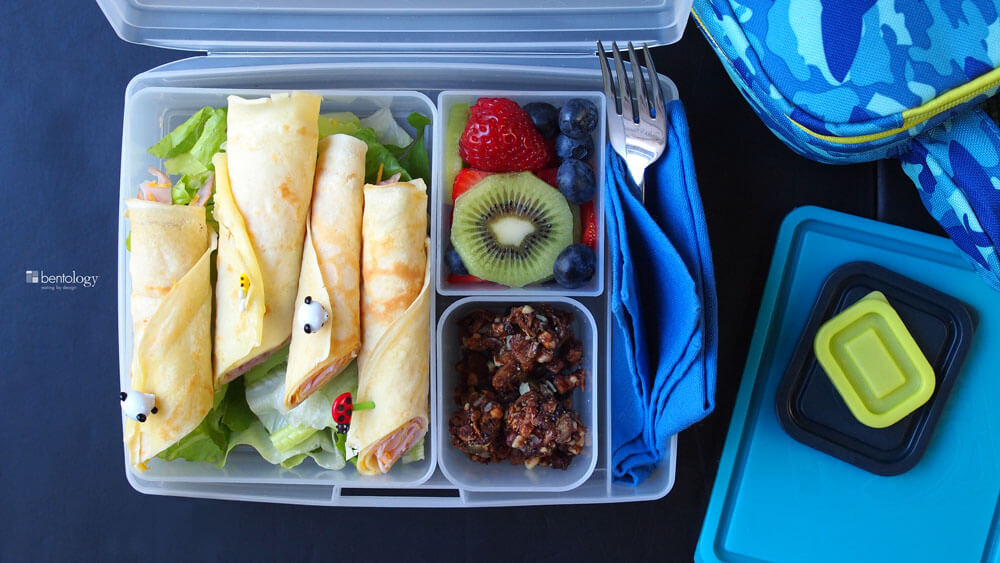 kids bento box lunch they will love Ham and Cheese Crepes for Lunch with Paleo Gluten-Free Snack and Fresh Fruit