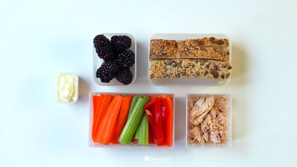 Portion Perfect Tuna Sandwich, with veggies, fruit, whole wheat seed bread, and mayo_bento portion perfect containers