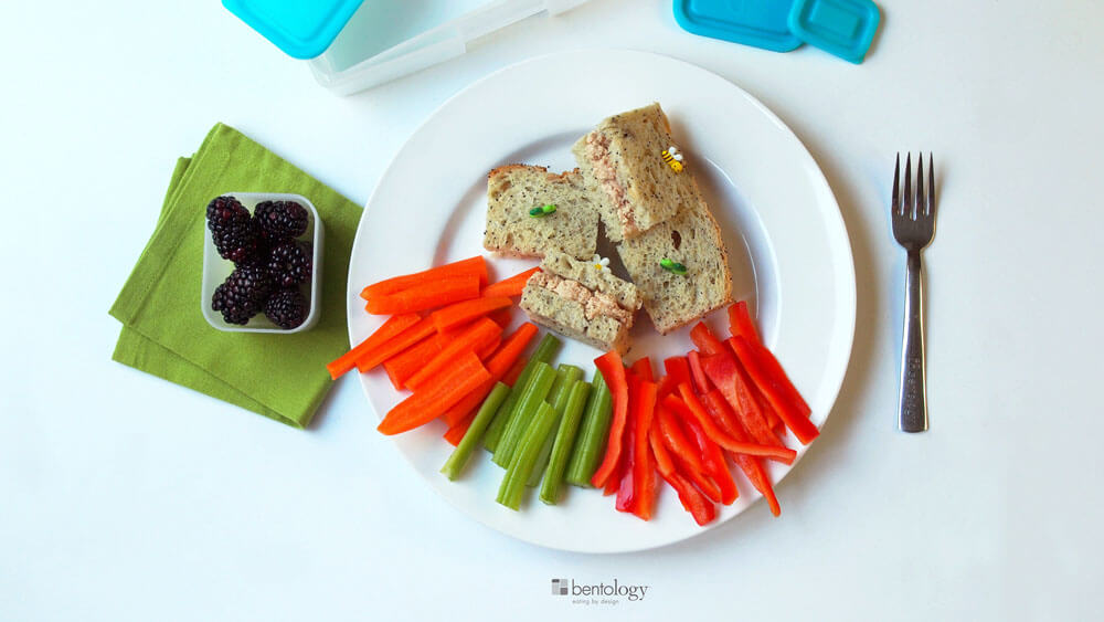 Portion Perfect Tuna Sandwich, with veggies, fruit, whole wheat seed bread, and mayo