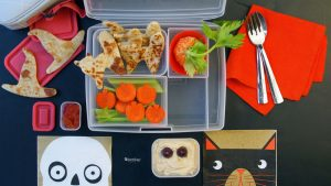 Kids' Healthy Bento Box lunch for Halloween at school cutters Simple cheese and tortilla grilled sandwich, quesadilla, Healthy and Fresh, and Halloween ish
