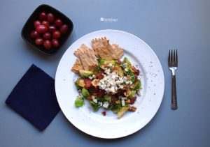 PP Brussels Sprouts Fall Salad with Bacon, Blue Cheese, Walnuts, Apple Cider Vinegar