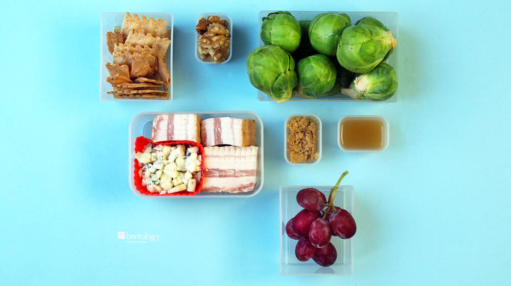 PP Brussels Sprouts Fall Salad with Bacon, Blue Cheese, Walnuts, Apple Cider Vinegar bento box containers for measure