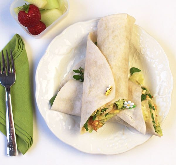 Portion Perfect Tofu Wrap with curry and coconut oil, lettuce, arugula, tortilla, avocado, mayo, cucumber