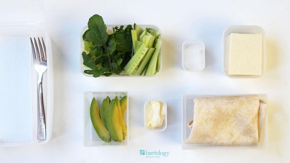 Portion Perfect Tofu Wrap with coconut oil, lettuce, arugula, tortilla, avocado, mayo, cucumber