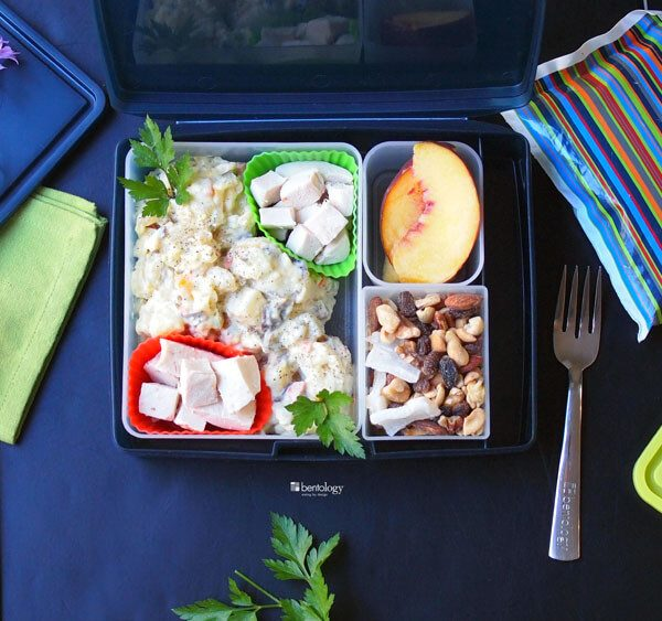 Teens Super Packed Lunch with roast chicken in the air cooker, potato salad, trail mix, and peaches for dessert, in a bento box in Night, napkin, XL container, tote, and cool pack