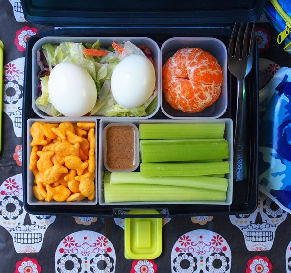 Egg, Hard boiled, easy bento box lunch with orange, goldfish crackers, almond butter and celery, with salad