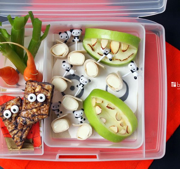 Ideas for kids lunches that don't have sugar, cool scary ugly vegetables, candy eyes and apple teeth with almonds