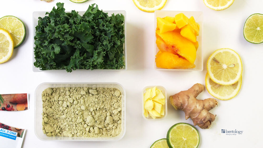 Portion Perfect favorite green smoothie with kale, ginger and lemon