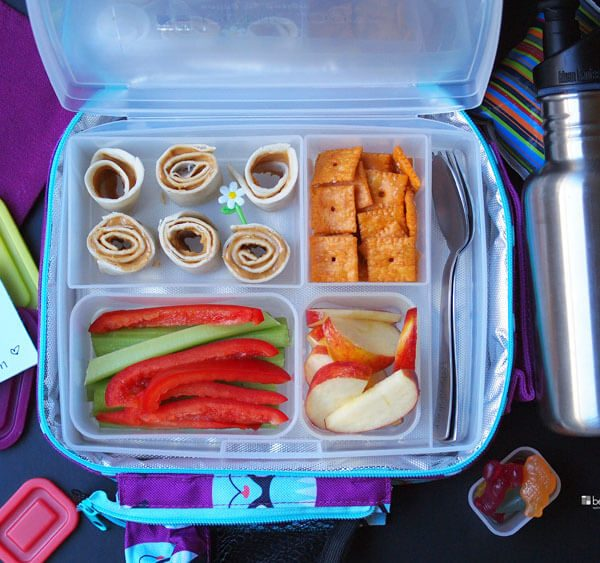 Gratitude Lunch, being grateful, love, and peanut butter rolls, veggies, apple, cheddar crackers in a bento lunch, cutlery, cool pack, bag, scandinavian gummies