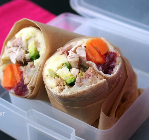 Leftover Wrap with potatoes, carrots, brussels sprouts, and cranberry sauce in your perfect portions, use your bento box lunch set and napkin, cranberry sauce