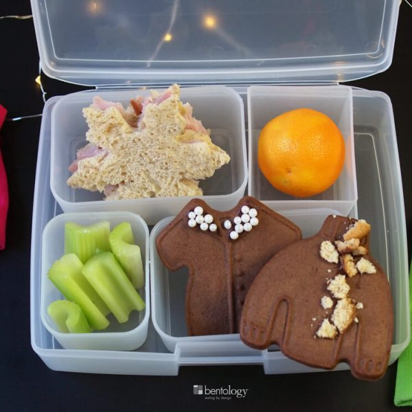 bento box lunch idea with ugly sweaters