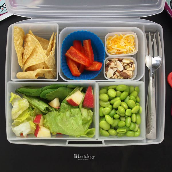 Kids veggie bento box lunch idea with edamame, corn chips, salad, peppers, cheese and almonds, with lunch bag