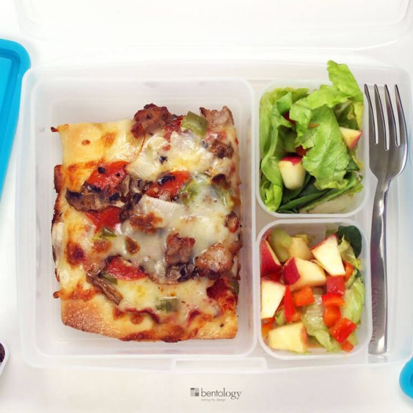 Portion Perfect Leftover Pizza with Salad and a few chocolate chips