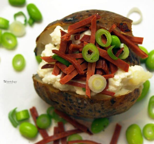 baked potato with veggie bacon and ricotta
