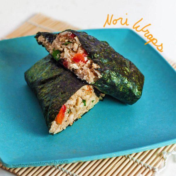 bento box lunch of crab salad nori wrap