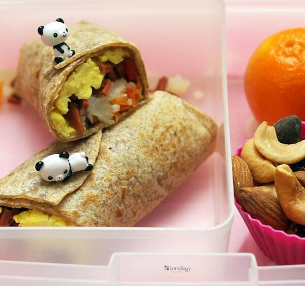 veggie bacon wrap bento box lunch