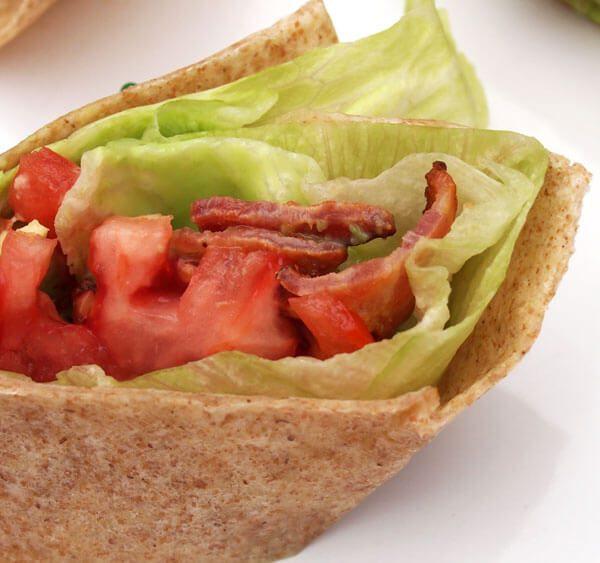 BLT Wrap portion perfect with bacon, tomato, lettuce, avocado, wasabi