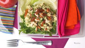 Chicken Salad with Almonds and Apricots bento box lunch
