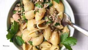 Tuna Pasta with Lemon and Parsley, Capers and Shells