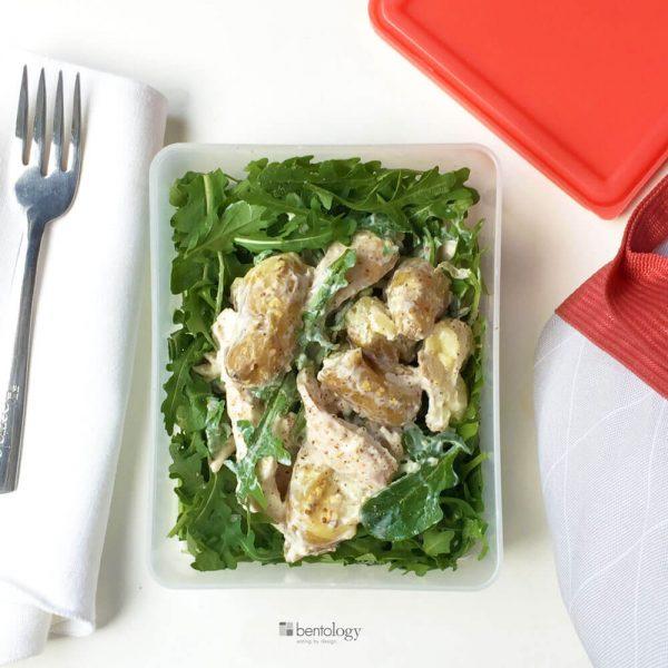 roast chicken, fingerling potatoes and arugula salad with stone ground mustard