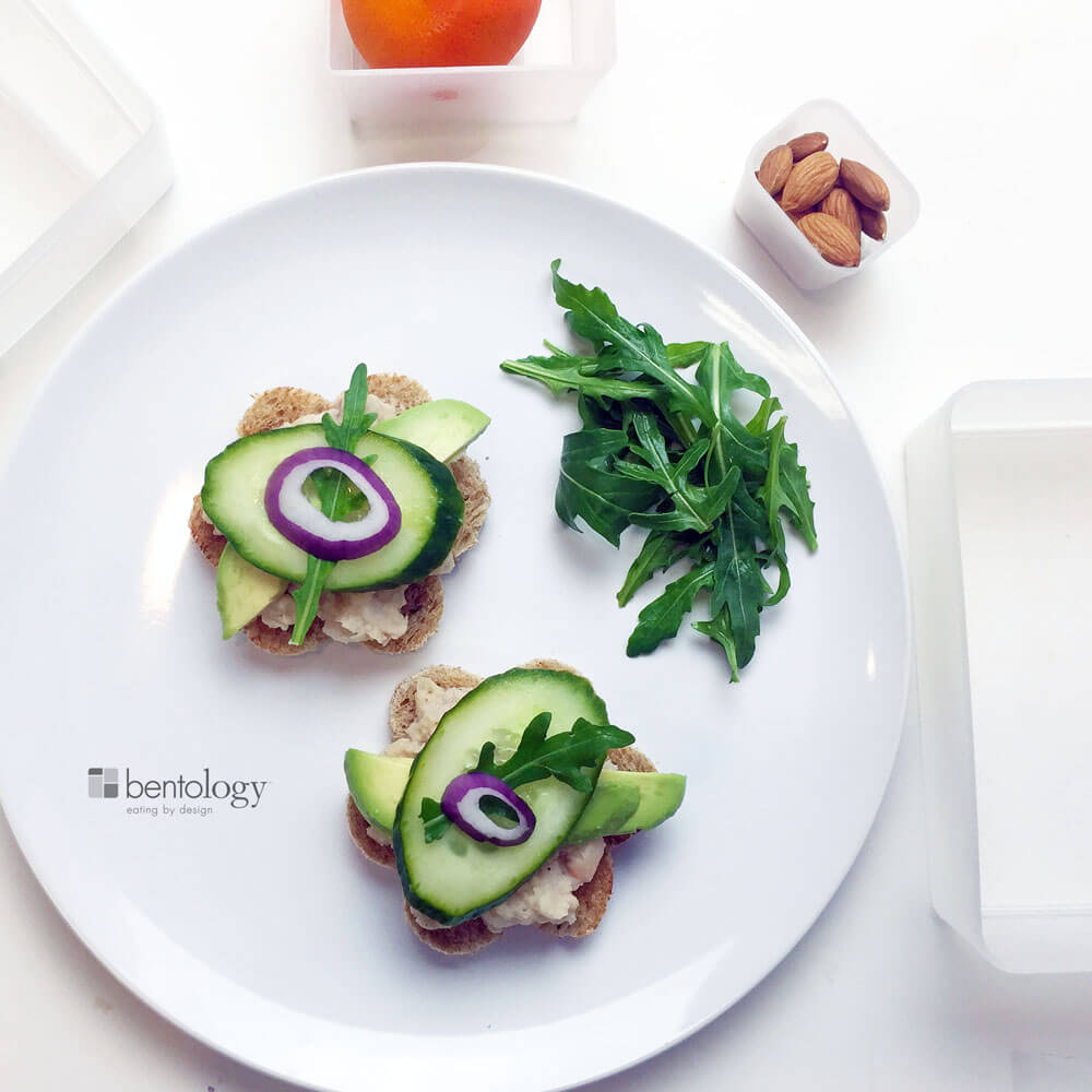 white bean avocado bento box sandwich lunch
