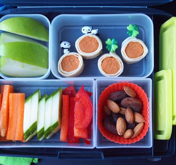 Easy Kids Bento Box Lunch with Veggie Dog Rolls