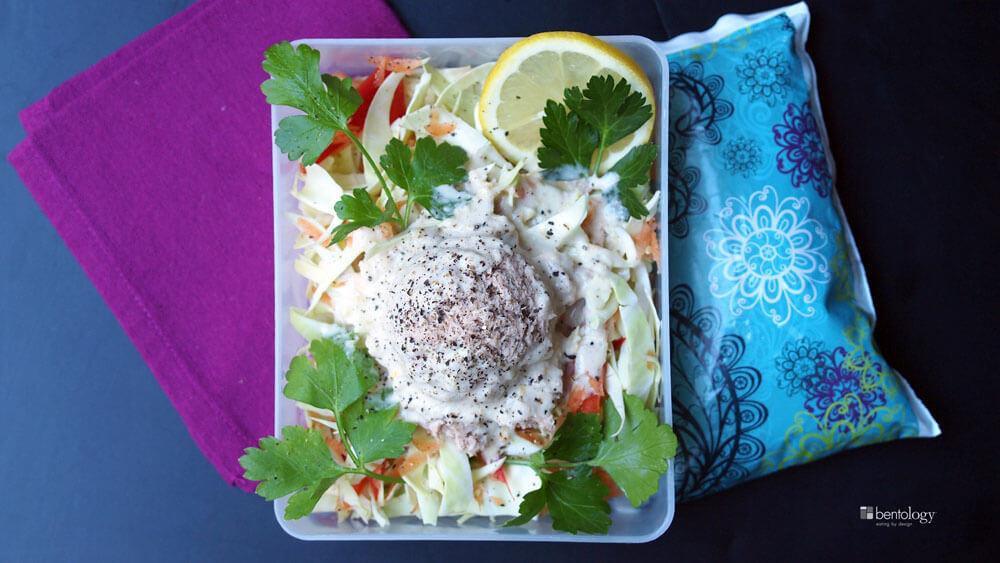 Lemon Tahini Paleo Salad with Miso Sesame Dressing bento box lunch