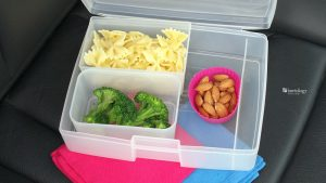 supper or dinner to go on the way to school practice broccoli, pasta bows, and raw almonds make a perfect bento box