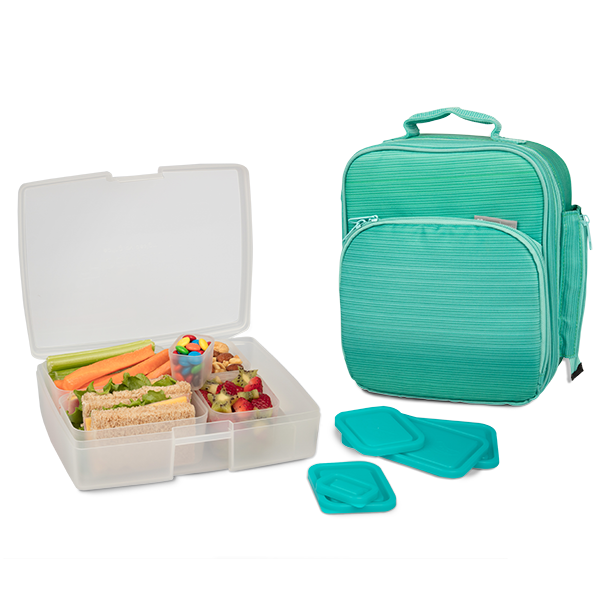 insulated lunch tote with bento box set turquoise. Black Bedroom Furniture Sets. Home Design Ideas