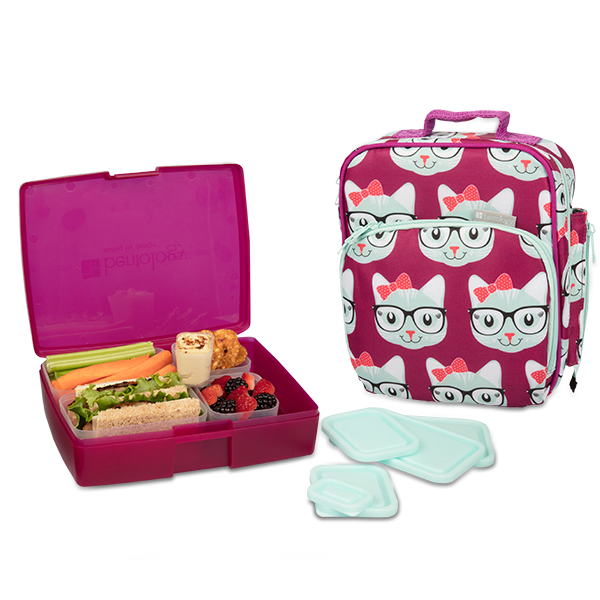insulated lunch tote with bento box set kitty bentology. Black Bedroom Furniture Sets. Home Design Ideas
