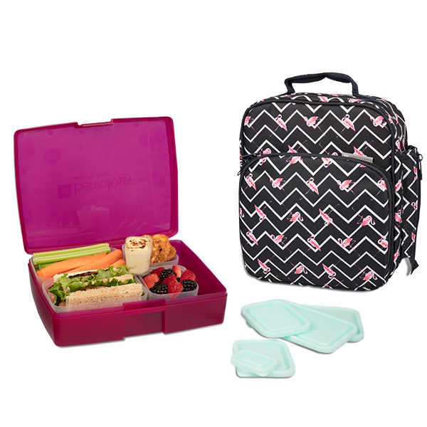 insulated lunch tote with bento box set flamingo bentology. Black Bedroom Furniture Sets. Home Design Ideas
