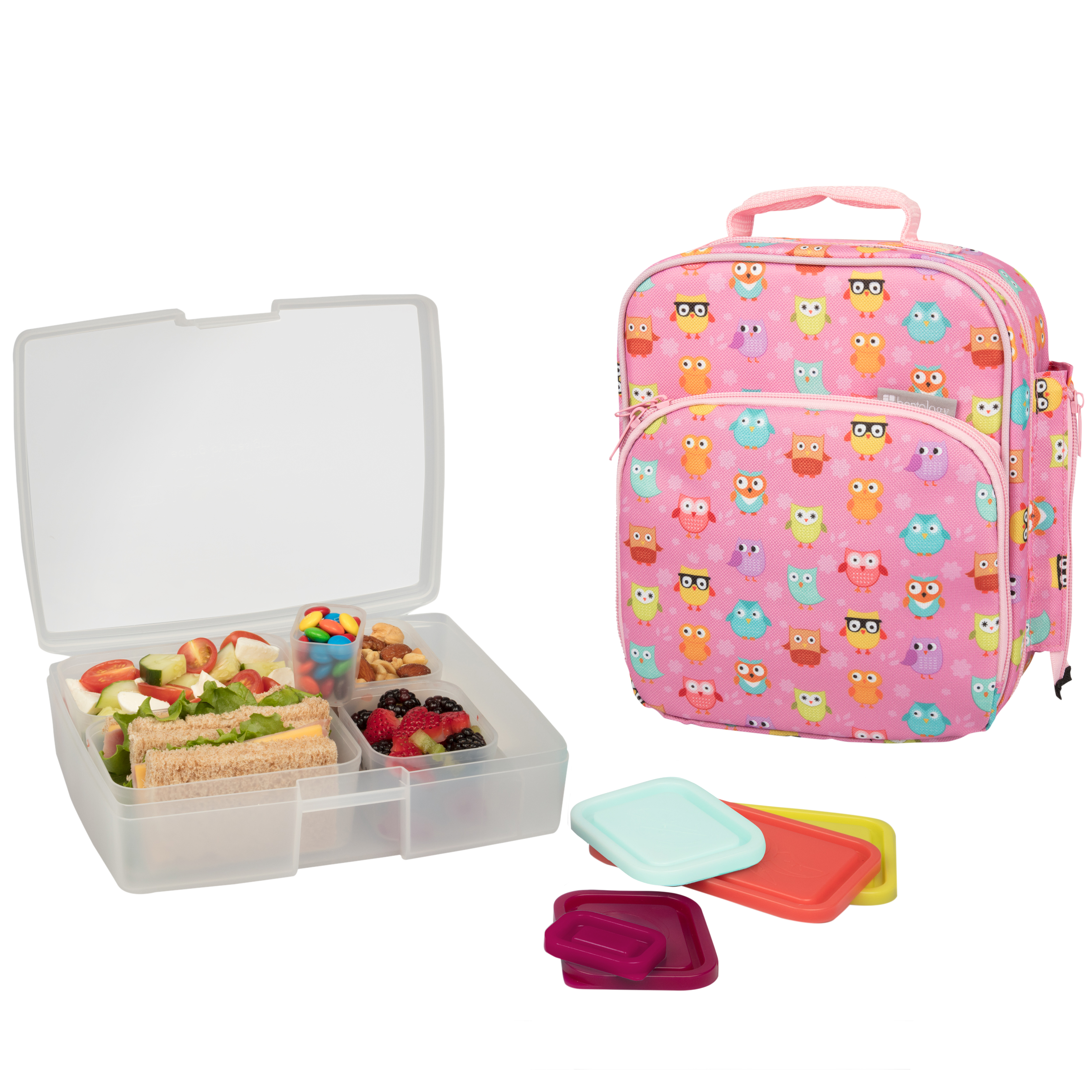 insulated lunch tote with bento box set owl bentology. Black Bedroom Furniture Sets. Home Design Ideas