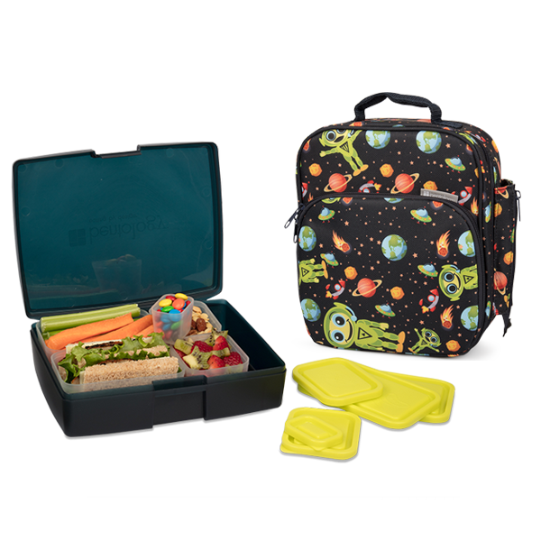 insulated lunch tote with bento box set alien bentology. Black Bedroom Furniture Sets. Home Design Ideas