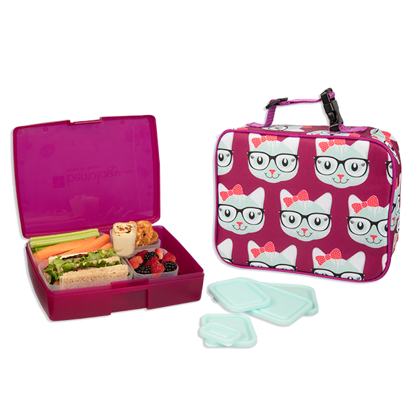 insulated lunch sleeve with bento box set kitty bentology. Black Bedroom Furniture Sets. Home Design Ideas