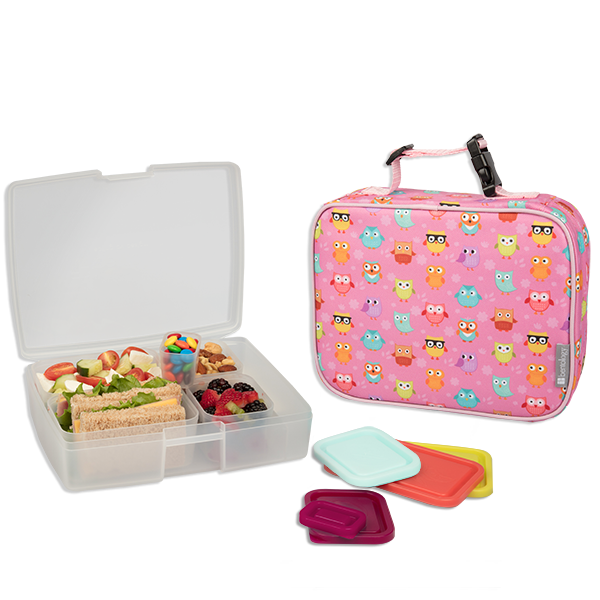 insulated lunch sleeve with bento box set owl bentology. Black Bedroom Furniture Sets. Home Design Ideas