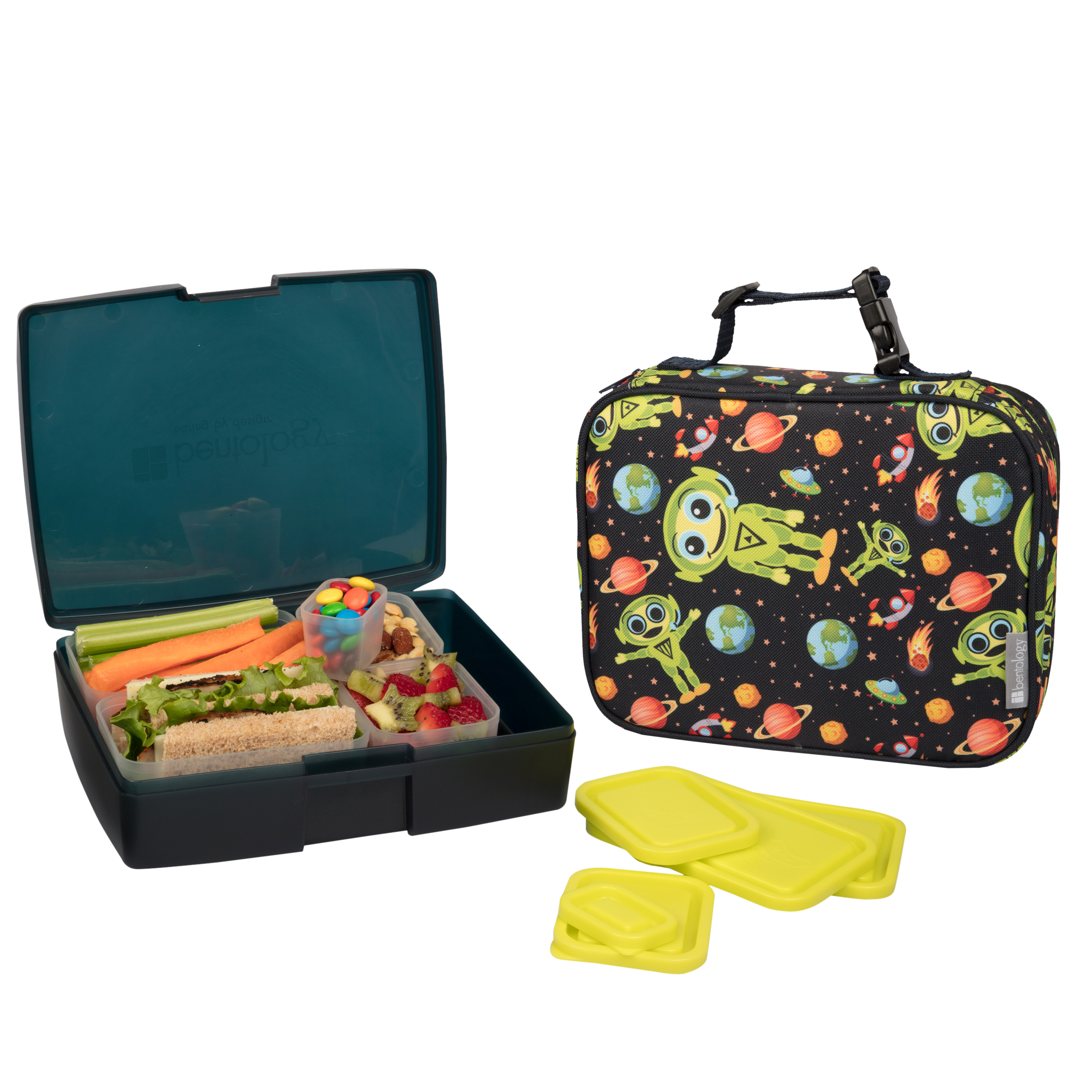 insulated lunch sleeve with bento box set alien bentology. Black Bedroom Furniture Sets. Home Design Ideas