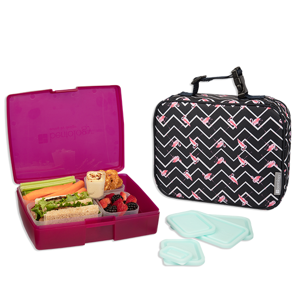 insulated lunch sleeve with bento box set flamingo. Black Bedroom Furniture Sets. Home Design Ideas
